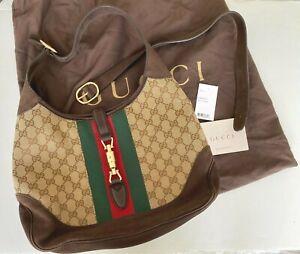 Gucci Brown GG Canvas & Suede Jackie Web Hobo Bag c2012 Style 277520F4CYG