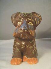 Vintage Satsuma Moriage Figural Terrier Dog Planter Japan - Rare!