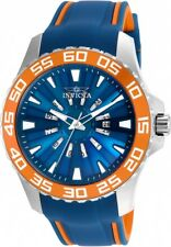 Invicta Men's Pro Diver Quartz S. Steel Blue/Orange Polyurethane Watch 25475