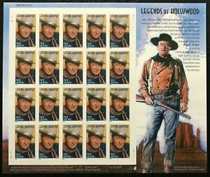 US, # 38776  Pane of 20 - John Wayne  MNH