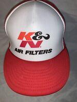 Vintage K&N Air Filters Red Snapback Trucker Hat Mesh Nissin Cap Trucker New