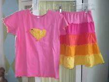 LOVE U LOTS girls pink chick tee tiered skirt set Sz 10