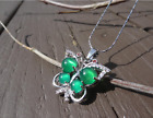Natural Jade Crystal Jewelry Pendant With 925 Silver Chain Necklace Butterfly