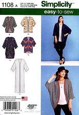 Simplicity Sewing Pattern 1108 Women's XXS-XXL easy-to-sew Kimonos