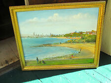 Gold Framed Painting of Keith Agar's Beach Huts of Brighton.