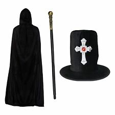 Black Halloween Gothic Silver Cross Hat, Hooded Polyester Cape & Cane / Staff
