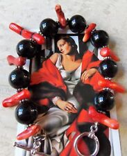 20cm Long Onyx & Red Coral Bracelet