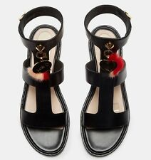 Fendi Heart Charm Fur Sandals 38 US 8 Authentic Mini Black Leather Gladiator