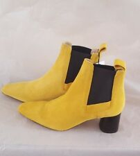 ZARA MUSTARD YELLOW  STRETCH SUEDE LEATHER ANKLE BOOTS  BNWT SIZE UK 5 EU 38