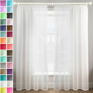A pair of high quality Voile Curtain 2cm gathering tape Top solid sheer for wire