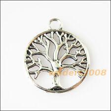 8 New Round Circle Tree Tibetan Silver Tone Charms Pendants 20x23.5mm