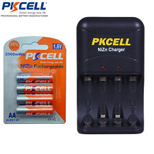 4 AA NiZn Rechargeable Batteries 2500mWh 1.6V + AA/AAA NiZn Charger PKCELL