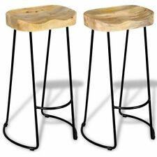 2x Solid Mango Wood Gavin Bar Stools Home Kitchen Dining Room Chair NEW