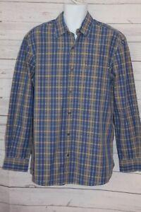 Timberland Men's Plaid Shirt Blue Tan Long Sleeve Cotton Button Front Medium