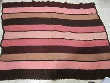 Vintage hand knit wool afghan - shades of mauve & brown stripe pattern Gc