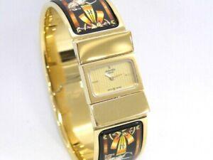 HERMES Bangle Wristwatch Loquet  L01.201 Enamel Black Gold Tone 72180098400 K