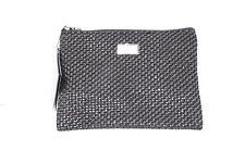 NEW GIORGIO ARMANI Women s Black Clutch Cosmetic Bag Woven 8.5 X 6 X 2