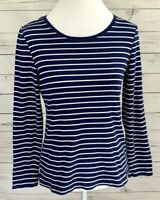 New Directions Top Womens Medium M Blue Striped Long Sleeve Stretch 100% Cotton