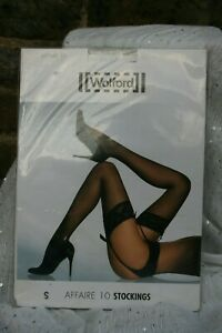 Wolford AFFAIRE 10 stockings Small UK 10/12 Lace Top Caramel New & Sealed