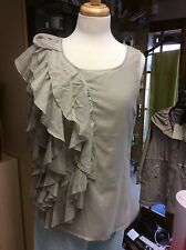 Miss Baron silver grey sleeveless ruffle top size14 brand new and only £9.99