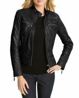New Women's Genuine Lambskin Motorcycle Real Leather Slim fit Biker Jacket