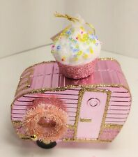 NEW Pink Metallic Gold Glitter  camper trailer Christmas Ornament Shatterproof