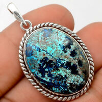 Natural Azurite Chrysocolla 925 Sterling Silver Pendant Jewelry SDP59146