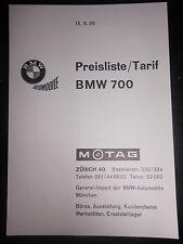LISTINO prezzi tariffa BMW 700 dalla Svizzera Motag 1959 COUPE BERLINA AUTO CAR