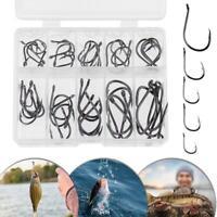 50pcs/set No.3-12 10 Types Black Nickel Fishing Hooks Fishing Accessories