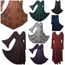 Boho Pagan Dress Medieval Maxi Gothic Festival Halloween Full Sleeve 10 12 14 16