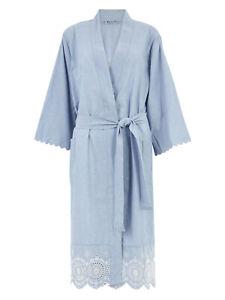 Ladies Blue Cotton Broderie Short Wrap Dressing Gown Size 6/8 - 20/22 LNOct08-1