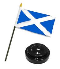 "Scotland Cross 4""x6"" Flag Desk Set Table Stick Black Base"