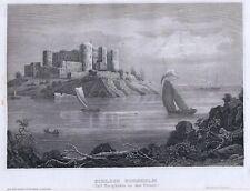 SCHLOSS BORGHOLM-Schweden-St.St. von BIH um 1840-11,0x15,8 cm