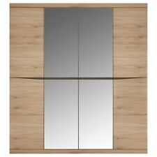 Kensington oak home bedroom furniture 4 door centre mirror wardrobe