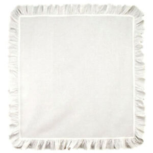 """New Farmhouse Shabby Cottage Chic WHITE RUFFLED TABLE CLOTH SQUARE Topper 30"""""""