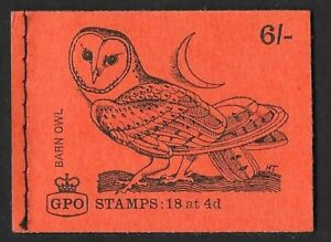 1969 GB STAMP BOOKLET ' BIRD SERIES QP45 BARN OWL'