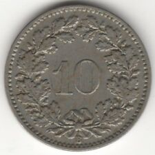 1895 Switzerland 10 Rappen Coin | Pennies2Pounds