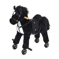 Qaba Kids Walking Horse Ride on Pony Rocking Toy Neigh Sound W/ Wheels& Footrest