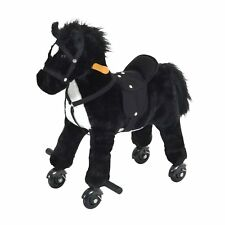 Qaba Kids Walking Horse Ride on Pony Rocking Toy Neigh Sound W/ Wheels& Footrest