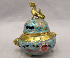 Chinese Pure Bronze Cloisonne Foo Dog Lion Brave troops Incense Burner Censer
