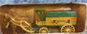 """1994 ERTL HORSE AND WAGON BABY'S FIRST BANK """"ITS A BOY""""NOS IN ORIGINAL BOX"""