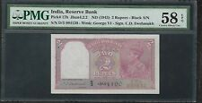 INDIA - Old 2 Rupee Note (1943)  P17b - PMG 58 AU
