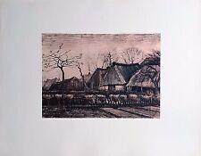 Campagne Hollandaise par Vincent Van GOGH (1853-1890) Dessin Rehaussé Imprimé