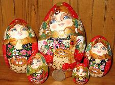 Russian Wood Nesting Dolls Matryoshka Eggs RED GOLD Mamayeva Matryoshka 5 Piece