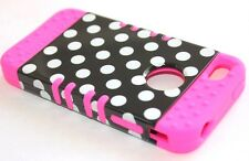 iPHONE 4 4G 4S - HARD & SOFT RUBBER HYBRID ARMOR CASE HOT PINK BLACK POLKA DOTS