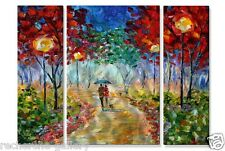 Night Walk in the Park Metal Wall Art Set Abstract Landscape Hand Made Painting
