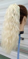 Light blonde wavy curly frizzy puffy pony tail hair extension piece new