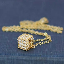 w Swarovski Crystal ~Dice Cube Square Celebrity Jewelry Pendant Gold PL Necklace
