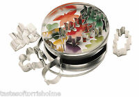 Kitchen Craft Set of 7 Leaf Shaped Biscuit, Pastry Cookie Cutters & Storage Tin