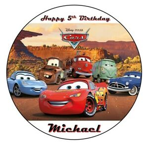 Disney cars Image Birthday cake topper 19cm round A4 icing sheet McQueen